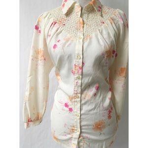 Cream & Pink Vintage Top Size 14